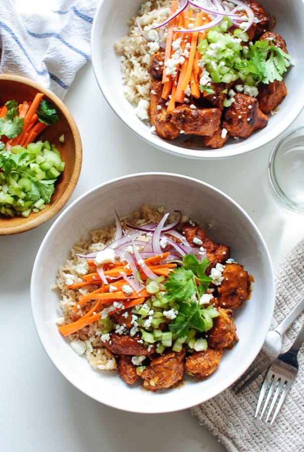 Buffalo Chicken Bowls / Bev Cooks
