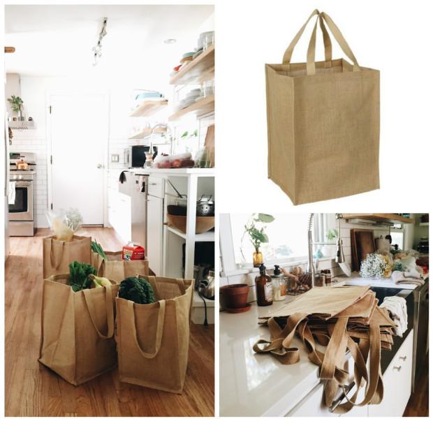 Burlap Grocery Bags / Bev Cooks