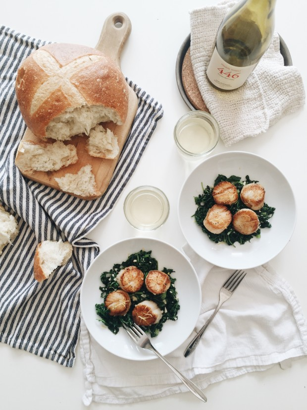 Seared Scallops with Winter Greens (Noble Vines Chardonnay pairing) / Bev Cooks