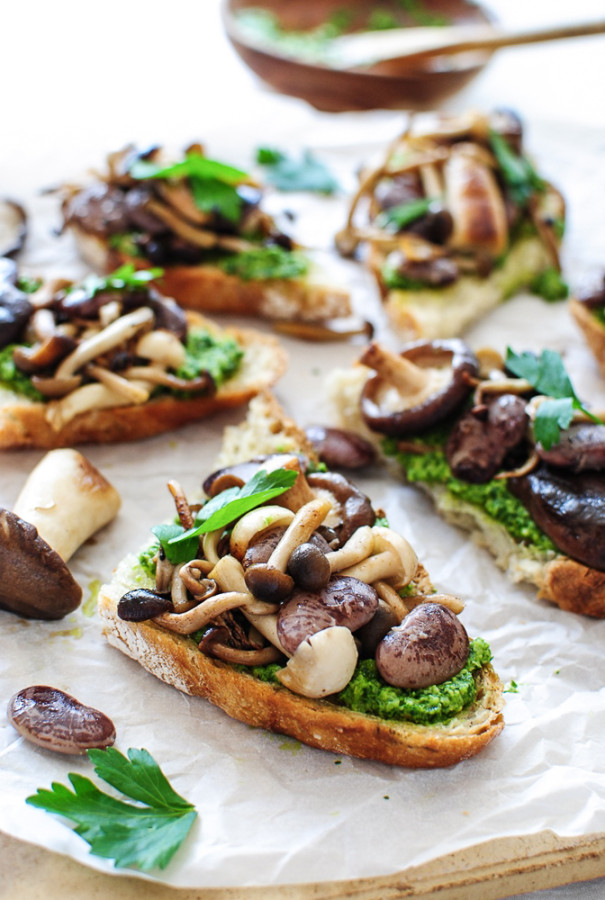 Wild Mushroom and Christmas Bean Crostini / Bev Cooks