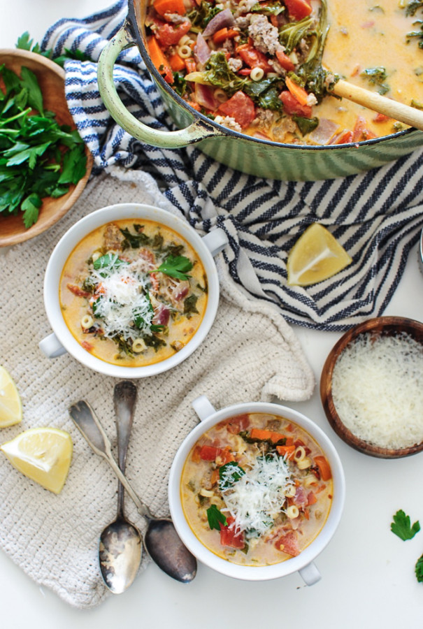 Creamy Sausage and Kale Soup / Bev Cooks