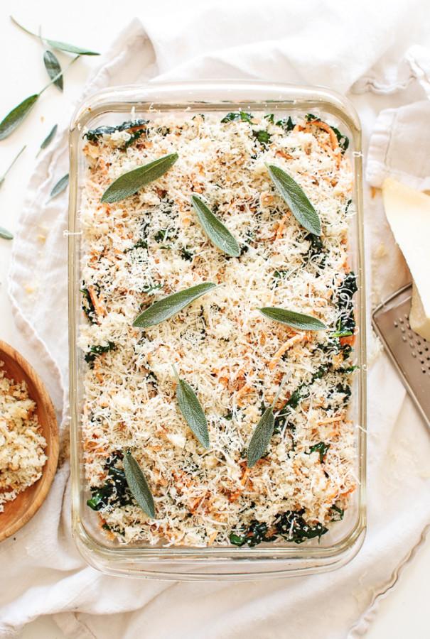 Sweet Potato Noodle and Kale Casserole / Bev Cooks