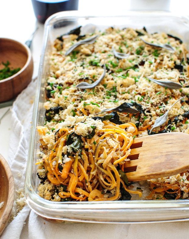 Sweet Potato Noodle and Kale Casserole / Bev Cooks