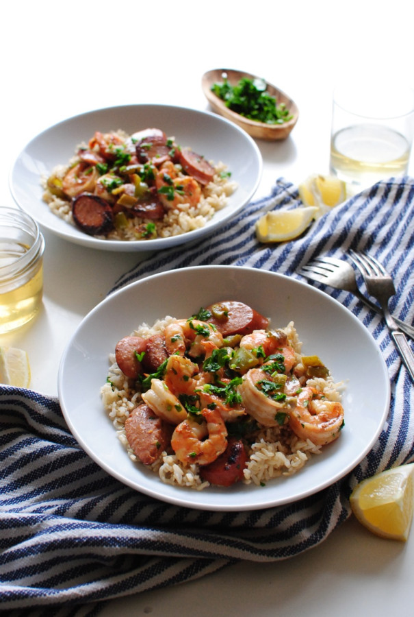 Weeknight Cajun Sausage and Shrimp with Rice / Bev Cooks