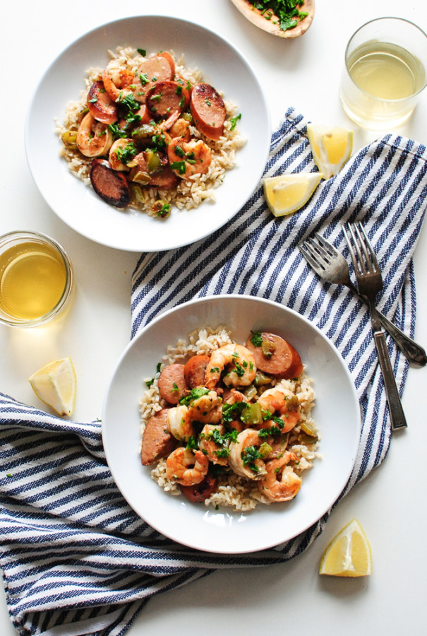 Weeknight Cajun Sausage and Shrimp with Rice / Bev Cooks