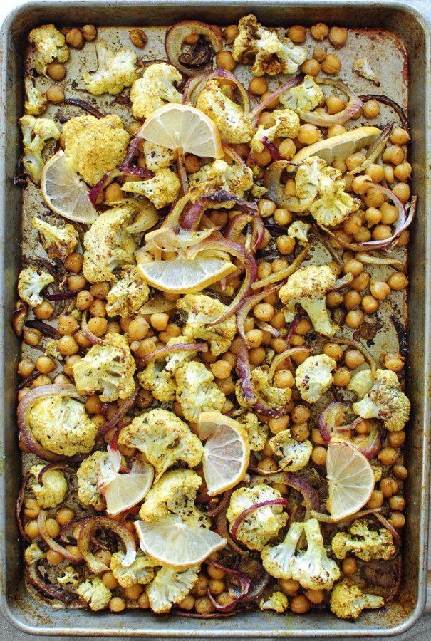 Roasted Indian Cauliflower and Chickpeas / Bev Cooks