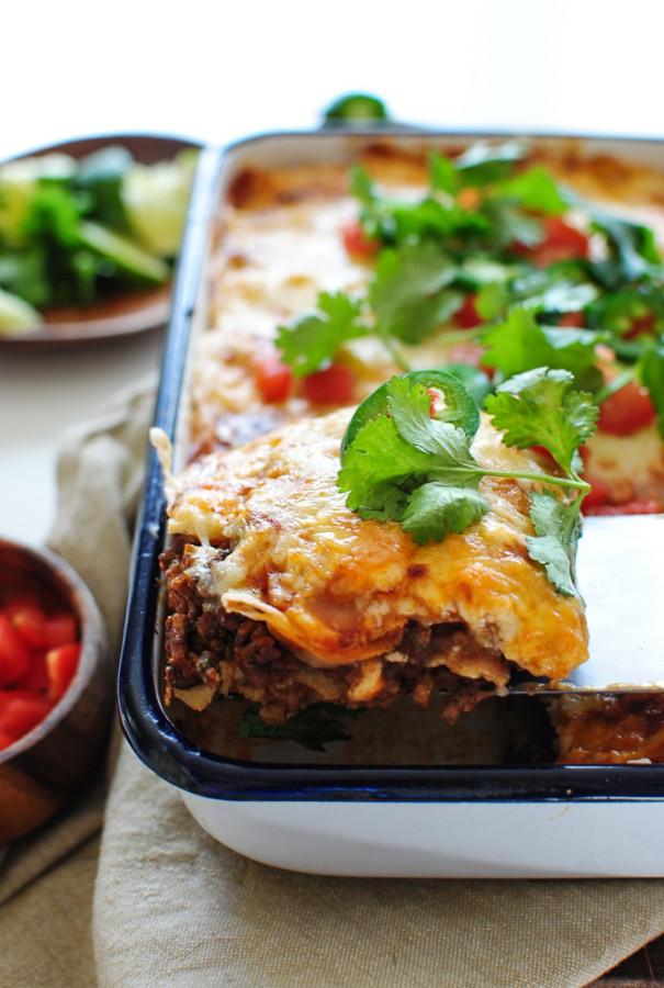 Grass-Fed Beef Enchilada Casserole / Bev Cooks
