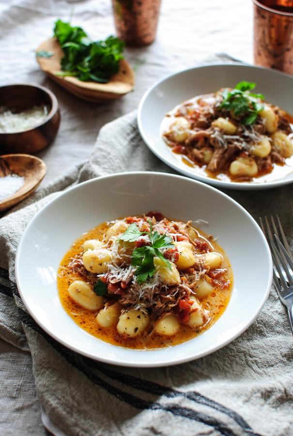 Slow Cooker Pulled Pork Gnocchi / Bev Cooks