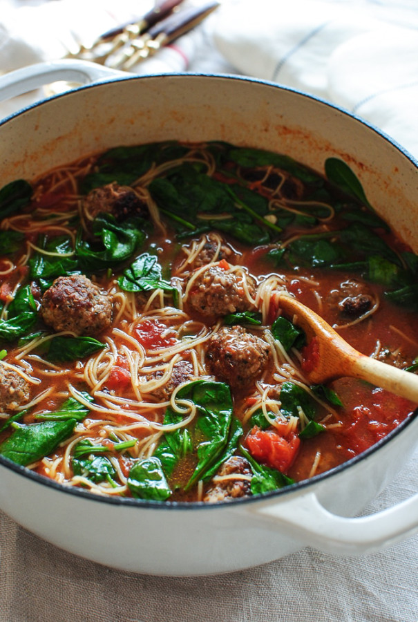 Spaghetti and Meatball Soup / Bev Cooks