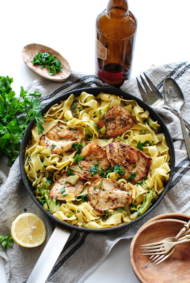 Chicken Pasta in a Beer Mustard Pan Sauce / Bev Cooks