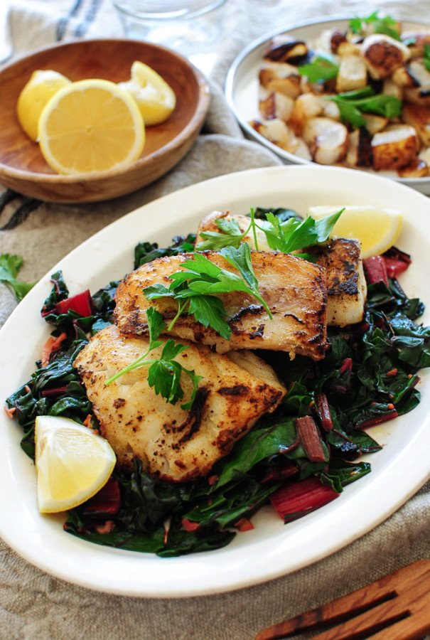Seared Cod with Swiss Chard and Roasted Turnips / Bev Cooks