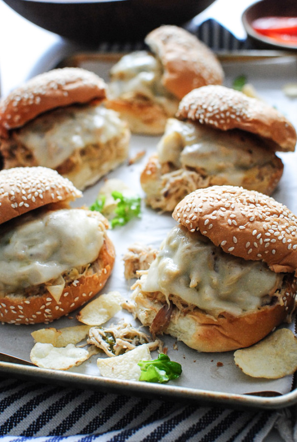 Slow Cooker Ranch Chicken and Swiss Sandwiches / Bev Cooks
