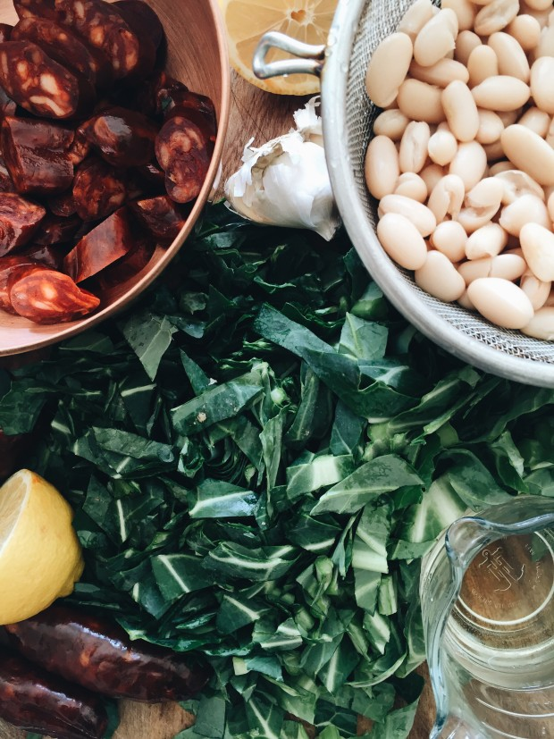 Spanish Chorizo with Collard Greens and White Beans / Bev Cooks