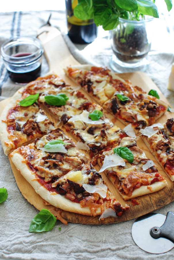 Pizza with Roasted Pork Tenderloin, Caramelized Onions and Pineapples / Bev Cooks