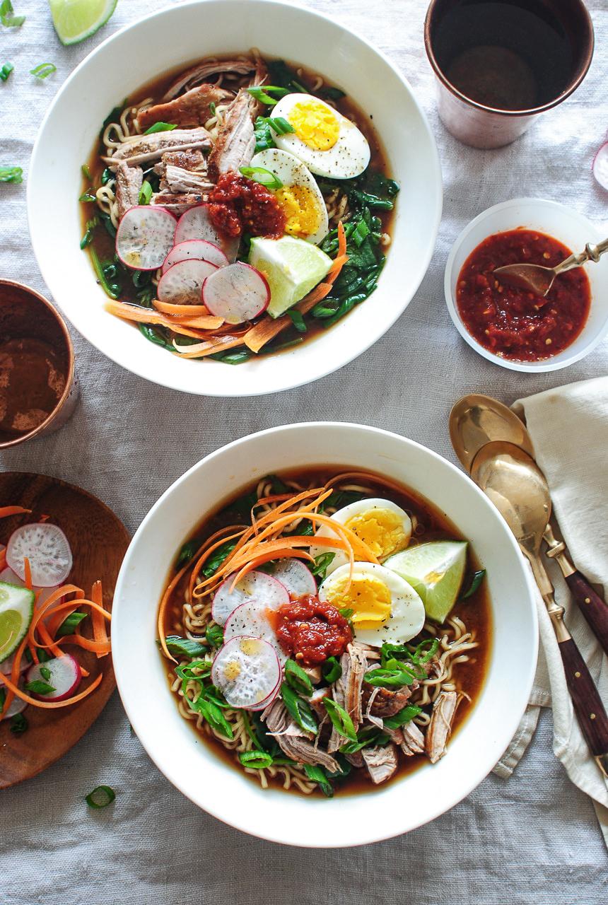 pork ramen noodle bowls  bev cooks