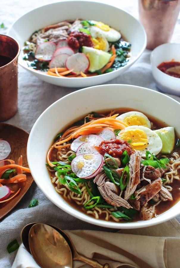 Pork Ramen Noodle Bowls / Bev Cooks