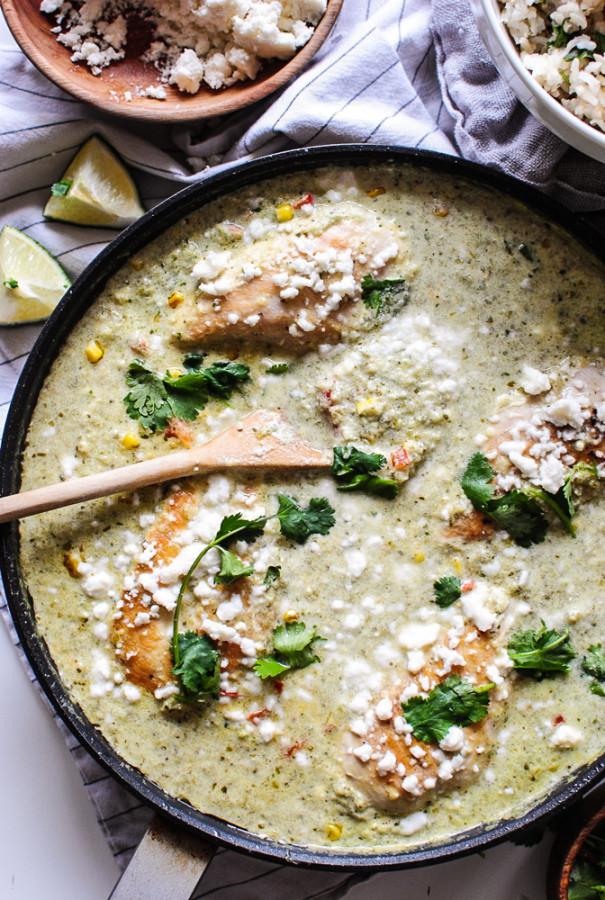 Skillet Chicken Suiza / Bev Cooks