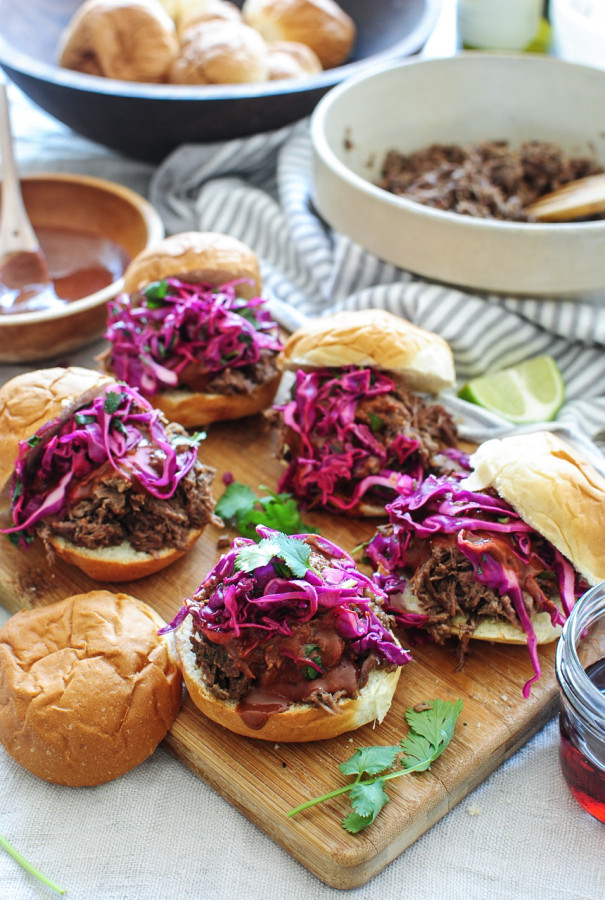 Slow Cooker BBQ Beef Sliders / Bev Cooks