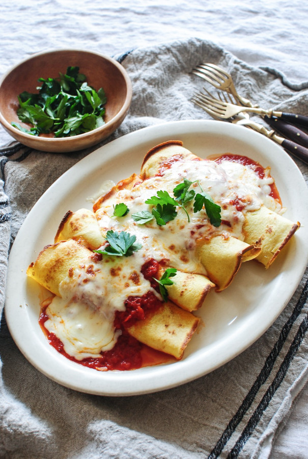 Spinach, Mushroom and Ricotta Crepes / Bev Cooks
