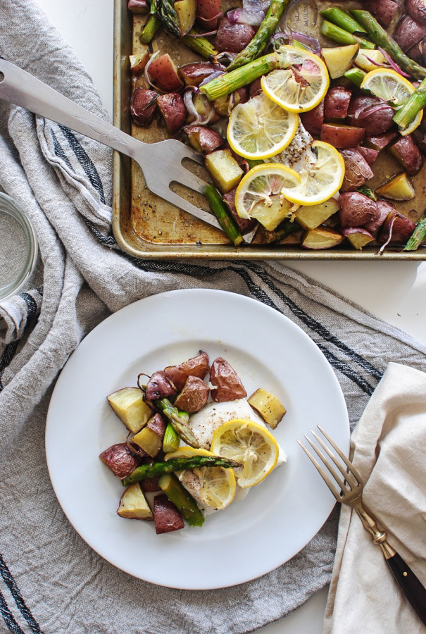 Baked Cod with Potatoes and Asparagus / Bev Cooks