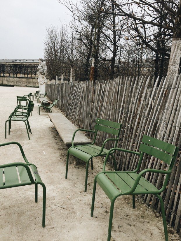 Green Chairs and Fence in Paris