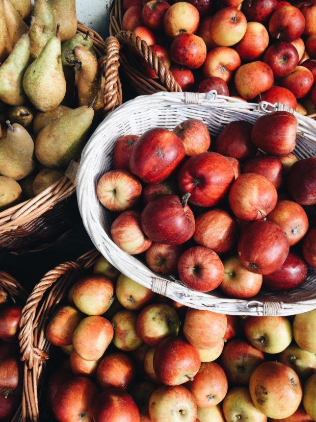Baskets of apples in London