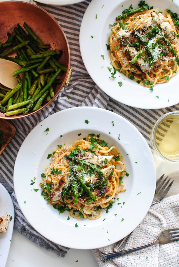 Chicken Pasta with a Roasted Tomato Béchamel / Bev Cooks