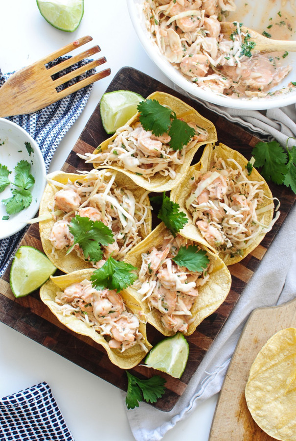 Shrimp and Cabbage Crunchy Tacos / Bev Cooks