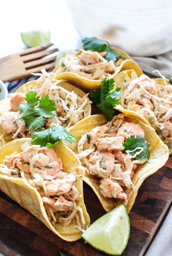 Shrimp and Cabbage Crunchy Tacos / Bev Cooks
