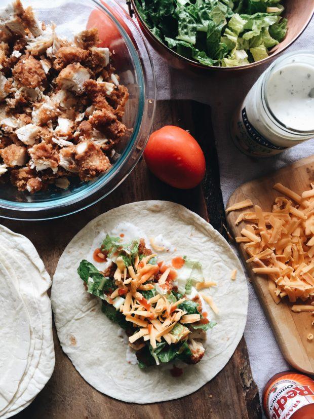Quickest Buffalo Chicken Wrap Bake / Bev Cooks