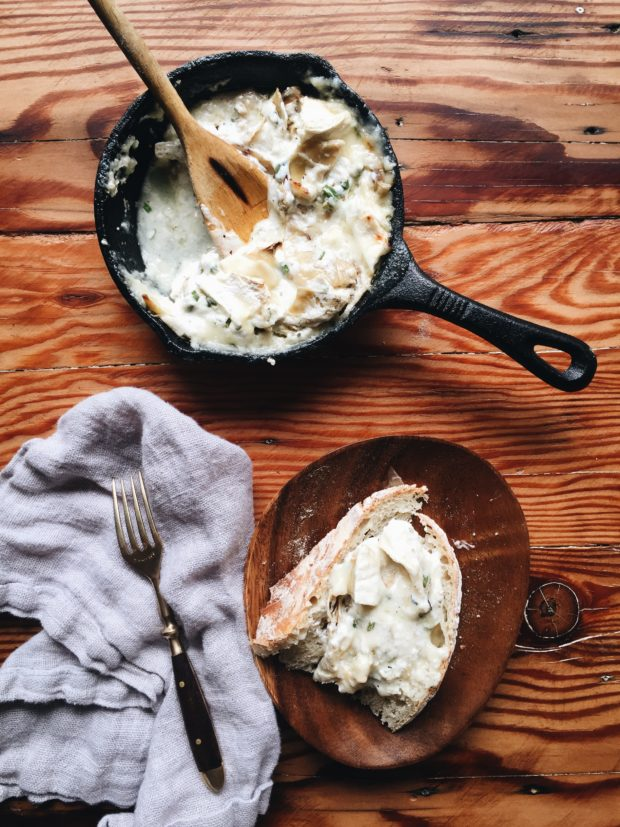 Skillet Brie and Artichoke Heart Dip / Bev Cooks