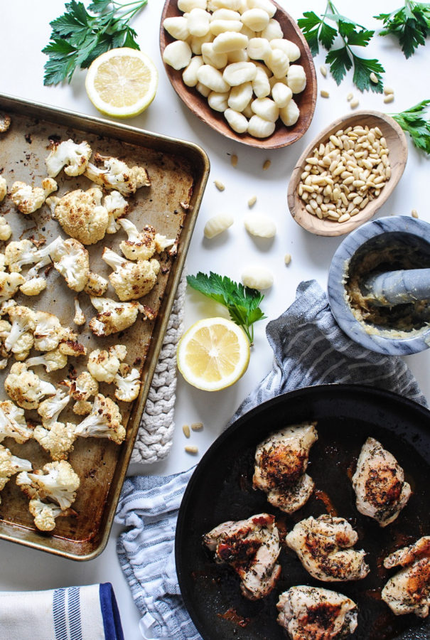 Gnocchi with Roasted Cauliflower, Garlic and Pan-Seared Chicken / Bev Cooks