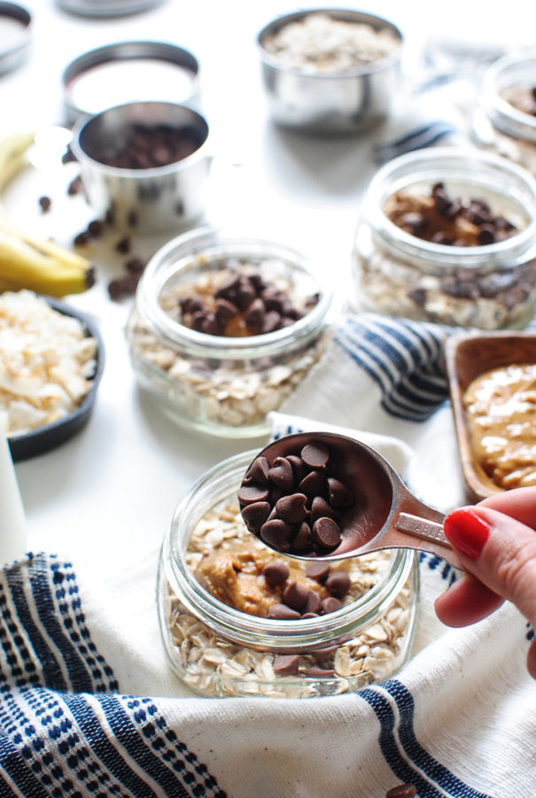 Overnight Oats with Peanut Butter, Chocolate Chips and Coconut / Bev Cooks