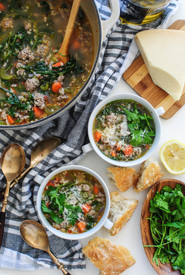 Spring Soup with Italian Sausage, Rice and Veggies / Bev Cooks