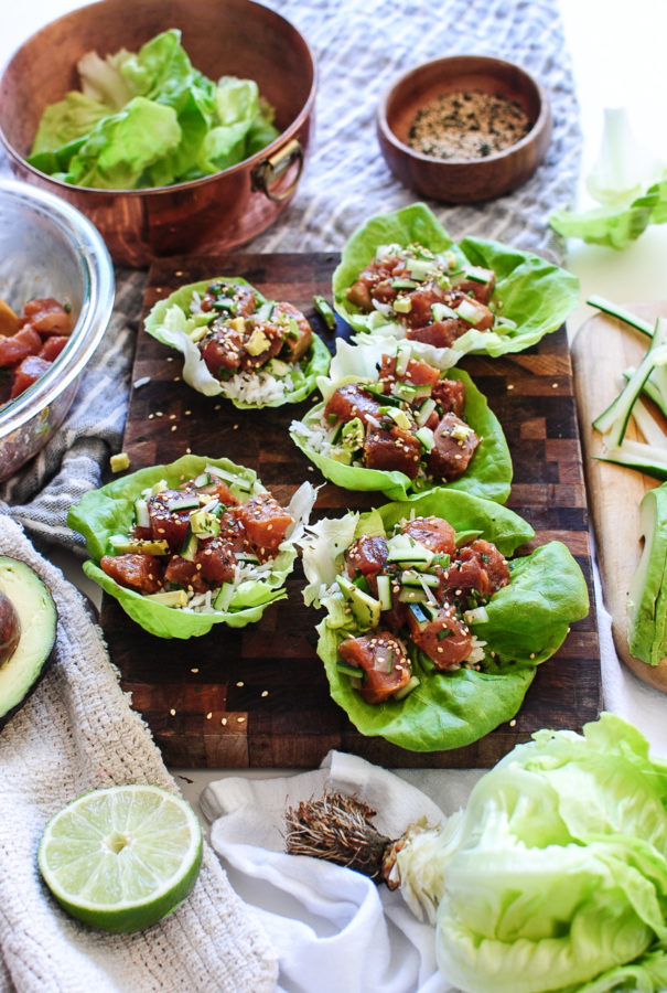 Spicy Tuna Poke Lettuce Wraps / Bev Cooks