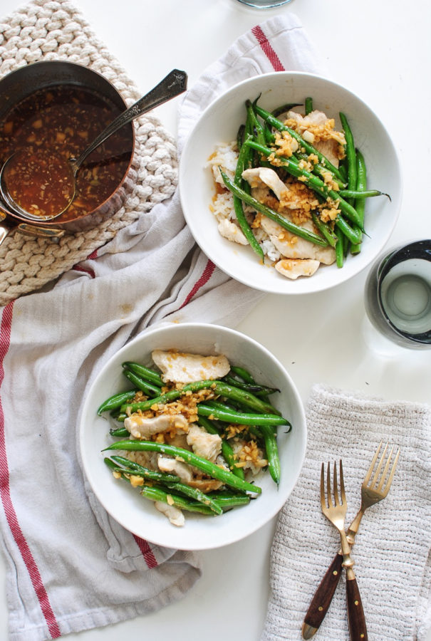 Chicken and Green Beans with a Garlic Ginger Pan Sauce / Bev Cooks