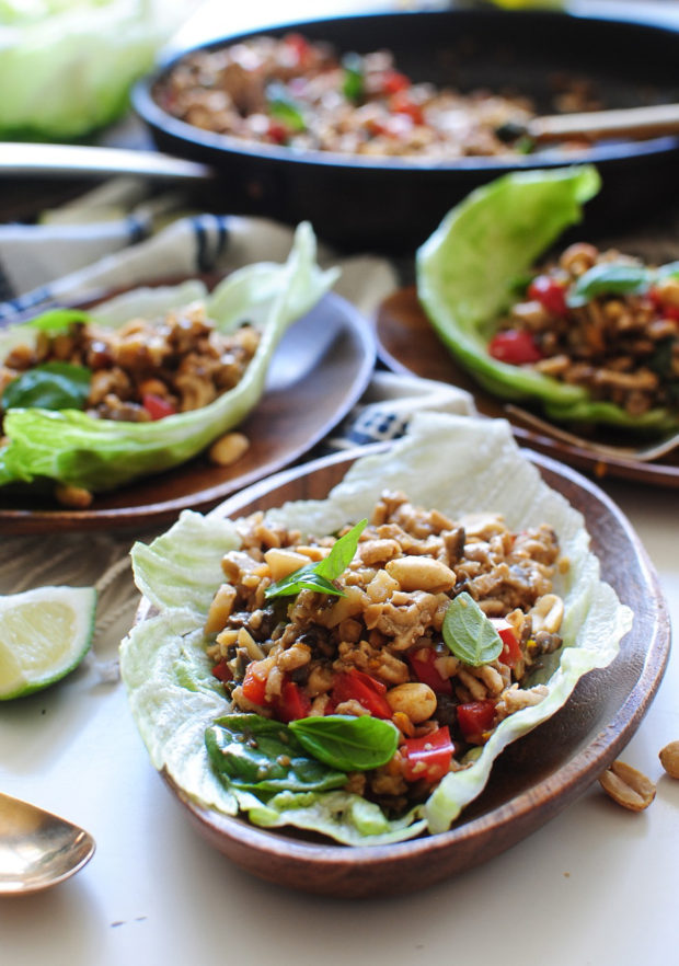 Asian Basil Chicken Lettuce Wraps / Bev Cooks
