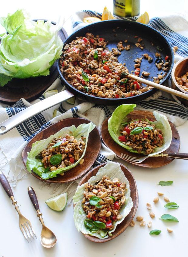 Asian Basil Chicken Lettuce Wraps / Bev Cooks