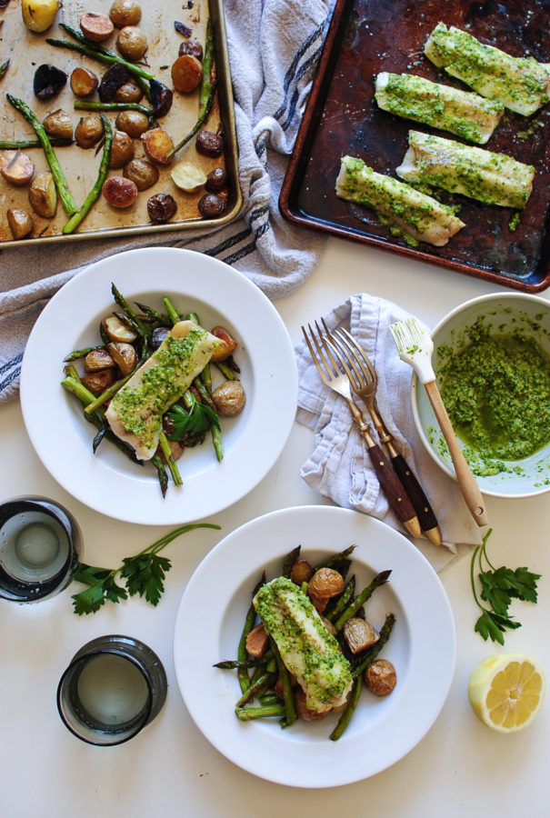 Broiled Pollock with Lemon Parsley Pesto, Roasted Potatoes and Asparagus / Bev Cooks