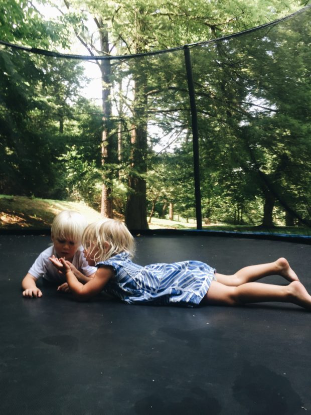 Will and Nat on the trampoline. Not scary at all.