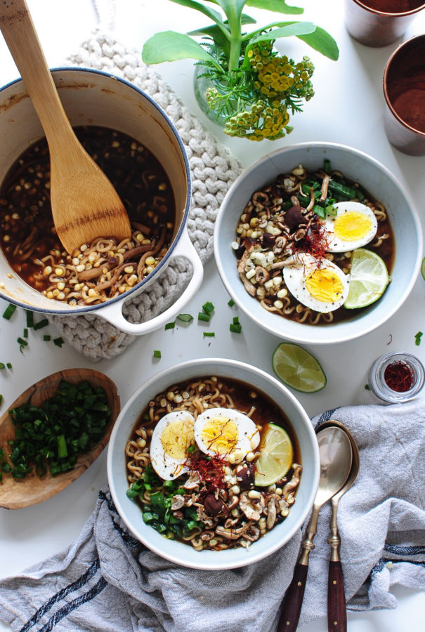 Corn and Mushroom Ramen Bowls / Bev Cooks