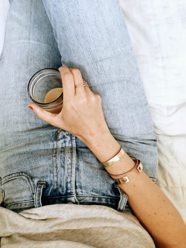 Madewell Summer Jean, iced coffee, and my favorite Le Papier Studio Cuff.