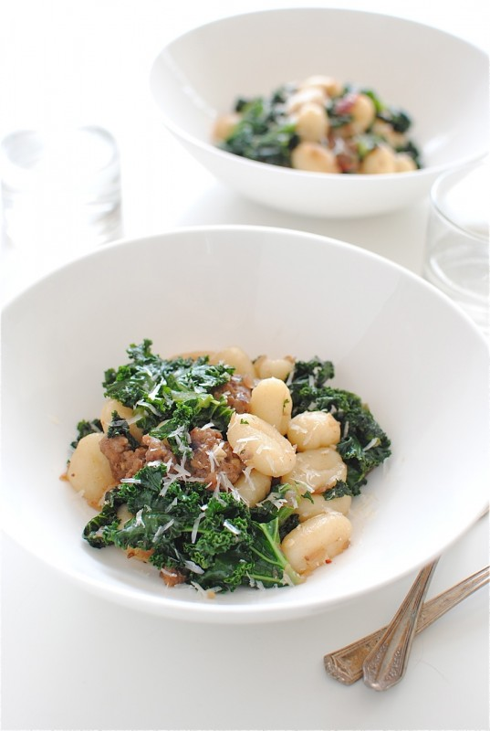 Gnocchi with Kale and Sausage / Bev Cooks