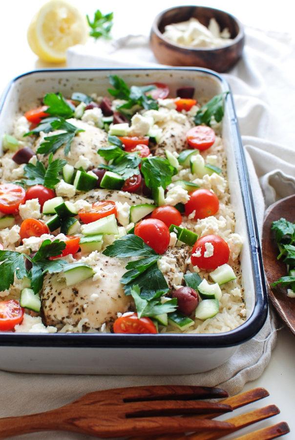 Greek Chicken and Rice Casserole / Bev Cooks