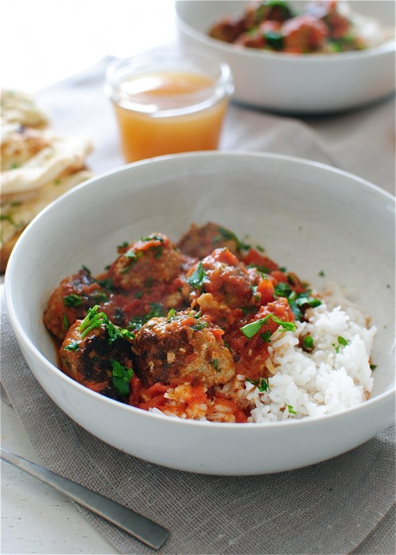 Indian Turkey Meatballs with Rice / Bev Cooks