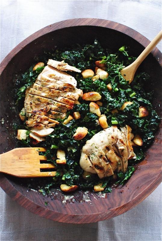 Kale Caesar Salad / Bev Cooks