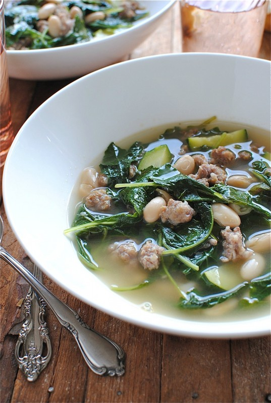 White Bean Soup with Sausage and Kale / Bev Cooks