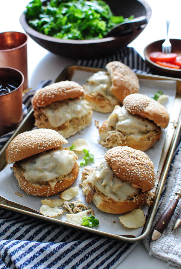 Slow Cooker Ranch Chicken Sandwiches / Bev Cooks