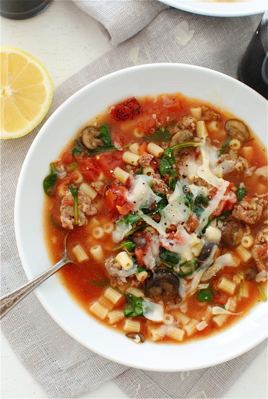 Rustic Tomato and Sausage Soup / Bev Cooks