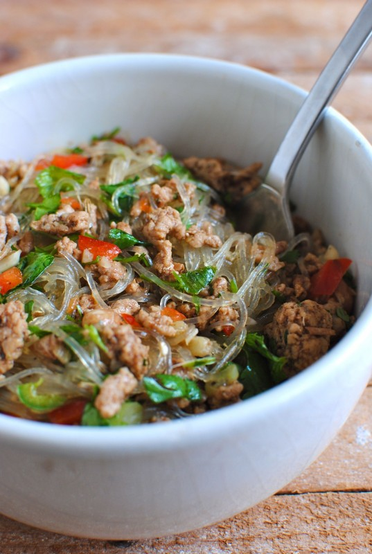 Thai Pork Salad with Glass Noodles / Bev Cooks
